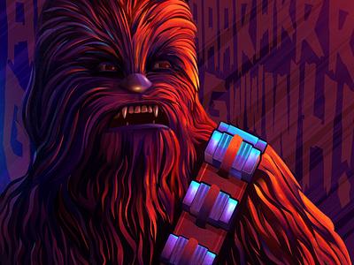 The wookie gradients adobe illustrator movie illustration chewbacca vector art star wars movie art
