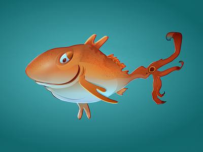 Vector redfish. Dr. Seuss style. digital sketching dr seuss vector art florida redfish fish