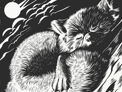 Inktober day 2 vector drawing line art fox animal inktober
