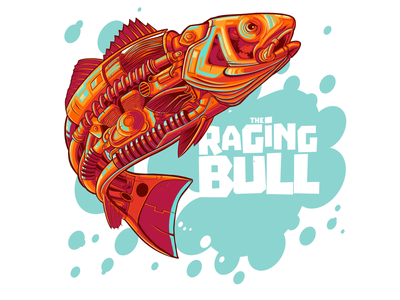 The Raging Bull fish logo logo design ocean animals ocean life fish