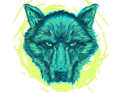 Wolf animal logo wolf dog illustration vector hatching
