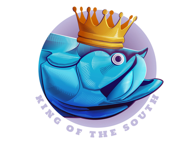 King of the South sea life ocean hatching logo vector florida tarpon fish