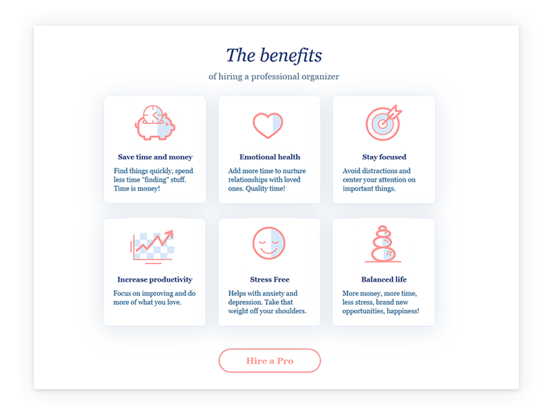 Benefits Page design   icon design cards benefits section icon website page