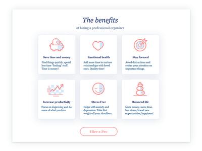 Benefits Page design | icon design