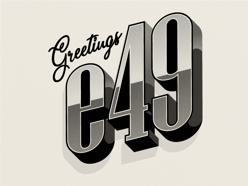 Greetings from e49 Creative Co. noise vintage retro black and white greetings