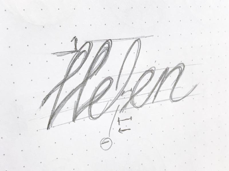 Helen Sketch sketchbook wordmark logotype lettering script sketch