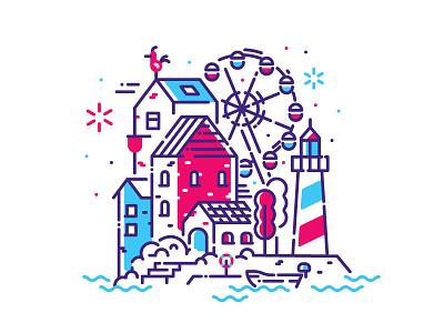 Happy little village fresh shizzle fireworks ferris wheel house town illustration