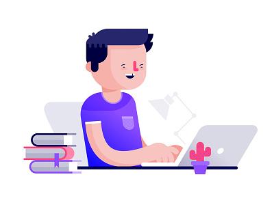 Typing away laptop geek cactus books desk character illustration