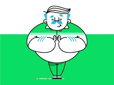 Chubster striped green happy mustache chubby round illustration character