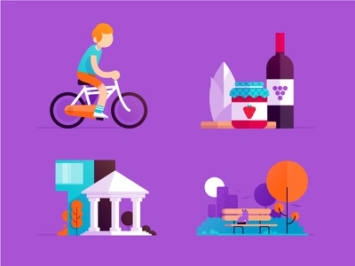 Tourism icons architecture museum park regional food jam chicory wine redhead bicycle