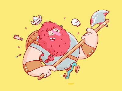 Viking time axe arrow yellow funky pants redhead blood skull character illustration