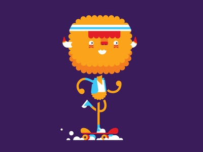 Little bighead bobblehead jacket monster skateboard character illustration