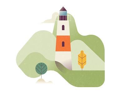 Lighthouse nature trees hills lighthouse illustration