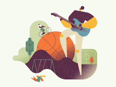 Leisure swing cyclist soccer rock guitar sports playground nature editorial illustration