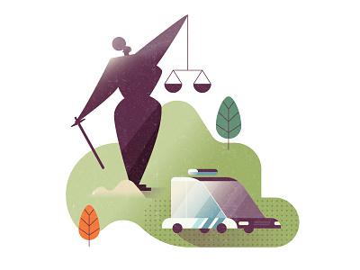 Justice law car police justitia illustration editorial nature