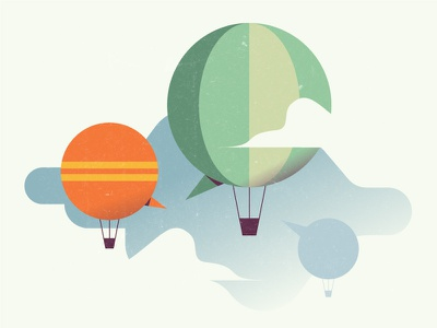 Communication clouds balloon sky editorial illustration