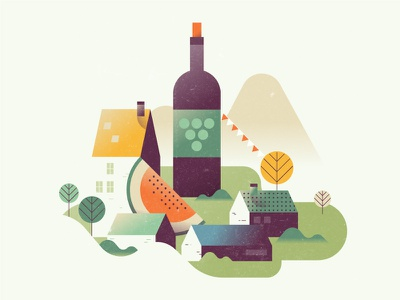 Community citizen houses party watermelon grapes bottle wine town village mountains well-being society