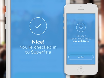Dash check in confirmation  ui ux iphone ios7 mobile payment restaurant venue bar check in