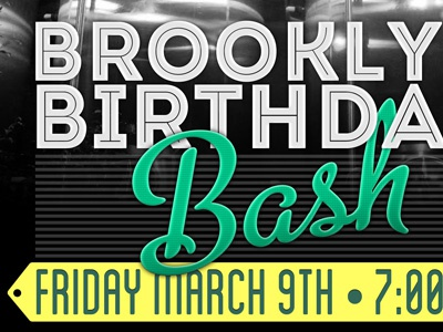 Brookly Brewery Birthday brothers poster birthday intro inline beer metro script typography brooklyn blanch event brewery