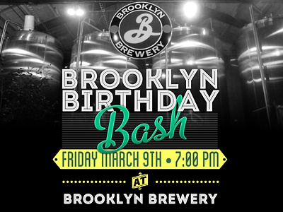 Brooklyn Brewery Birthday Full   brooklyn brothers typography brooklyn brewery beer intro line poster birthday metro script blanch event brewery