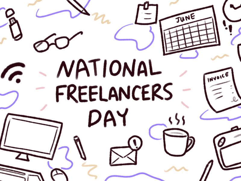 Happy National Freelancers Day wifi freelance life email clock glasses thumbdrive pencil wacom tablet coffee calendar desktop icons illustration