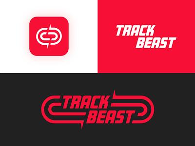 TrackBeast First Look typography app icon running app tracking app logodesign branding fitness running track and field logo beast track
