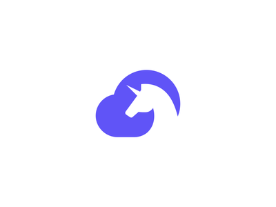 SaaScorn - Cloud Unicorn Concept service software cloud service app cloud negative space outline saas design identity branding purple magic mythical unicorn corn saas