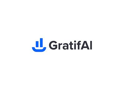 GratifAi smile robot ai artificial intelligence modern type analytics color logo design blue gratify