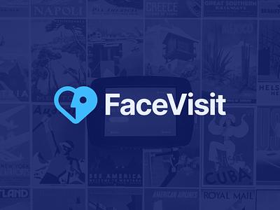 FaceVisit Logo Design minimal simple abstract face heart security safety health covid19 logo design logo facevisit