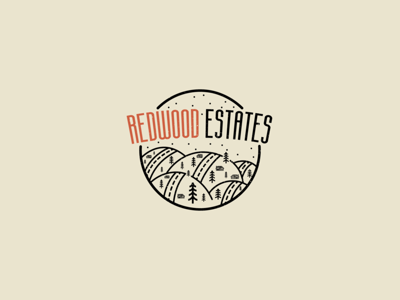 'Redwood Estates' Vintage Logo Exploration logo mountain forest vintage redwood estates estates redwood