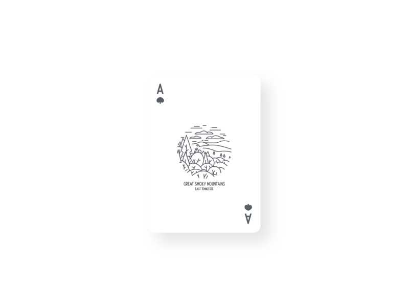 Great Smoky Mountains Vintage Card Design playing card designs vintage card playing card smoky vintage mountains great smoky mountains