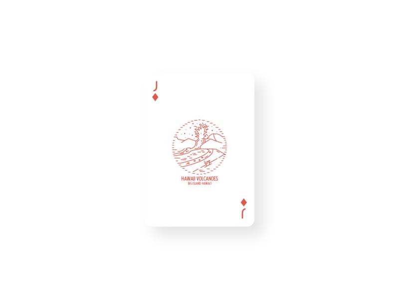 Hawaii Volanoes Vintage Card Design eruption magma lava playing card card design volcanoes hawaii