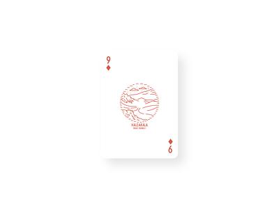 Haleakala Vintage Card Design playing card poker card art card line art vintage card haleakala hawaii