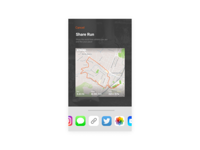 """Strava """"Share Run"""" UI Redesign - Daily UI #010"""