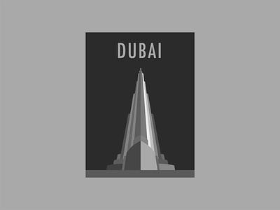 Dubai. burj khalifa tower minimalism poster typography design dubai