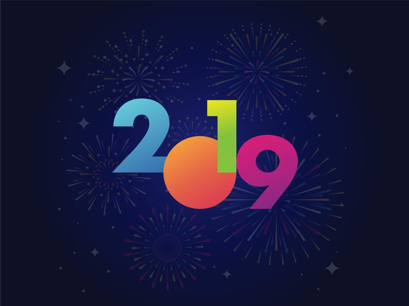 2019 typography illustration minimal vector fire work gradient festival celebration 2019 logo new year eve new year new year 2019 2019