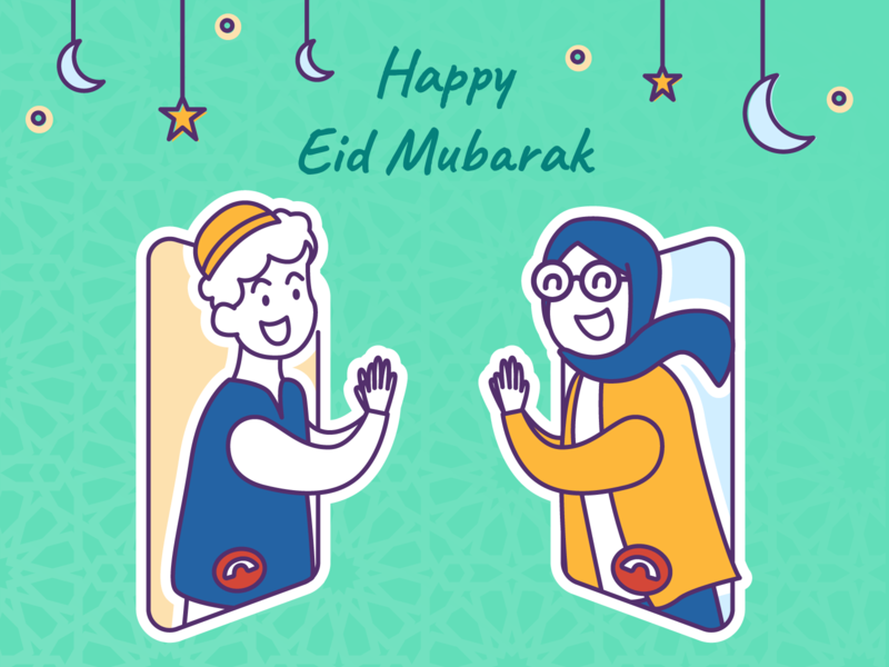 Eid Mubarak Greeting Card vector illustrator ux ui flat illustration design eidmubarak