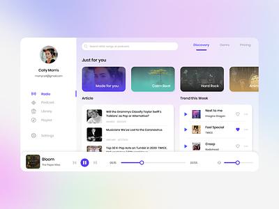 Music Web Player Exploration app ux website icon clean web vector ui flat design