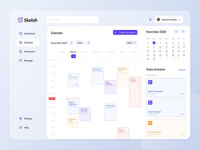 Skolah - Online Class Calendar minimal vector icon ux clean web ui flat design