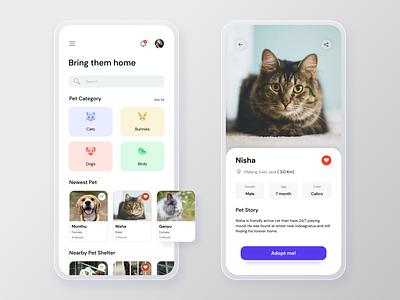 Pet Adoption App modern ux clean mobile ui design