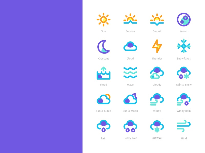 Wheater Icons Filled Line Style illustration illustrator clean web mobile app vector ux ui design flat icon