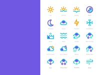 Wheater Icons Filled Line Style