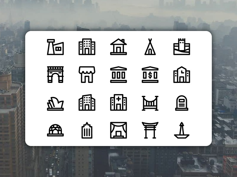 Building and Landmark Icons landmark illustrator icondesign vector ui illustration icon flat design
