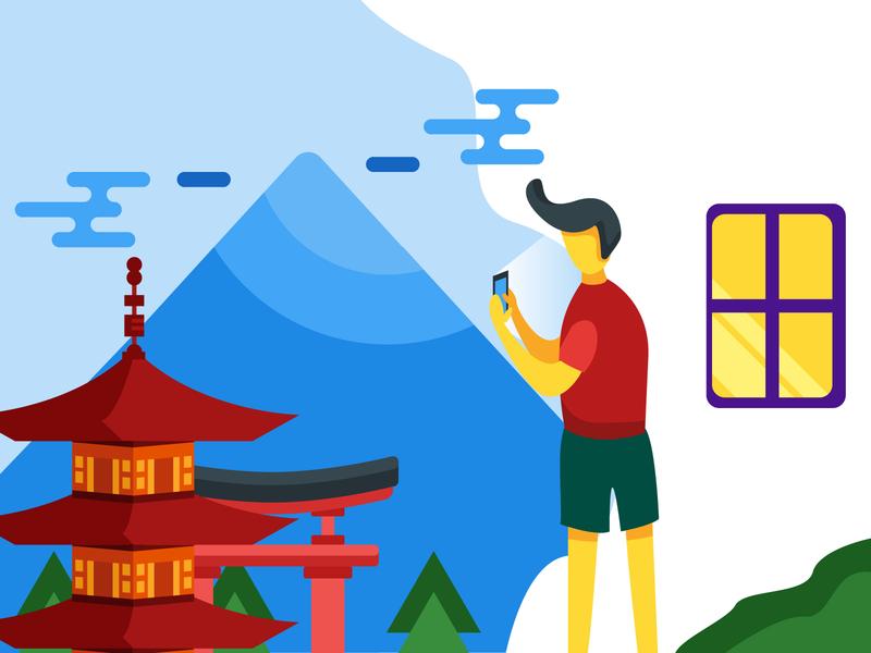Travel Illustration vector web illustrator icon illustration flat design travel