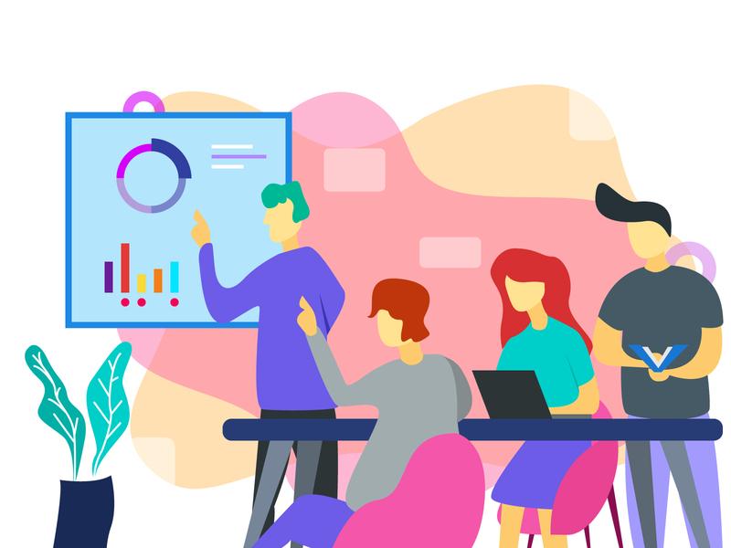 Team Meeting clean website ux mobile web vector illustrator design flat illustration