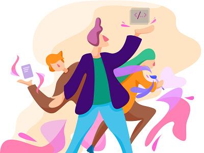 Startup Team website ui web illustrator vector flat design illustration