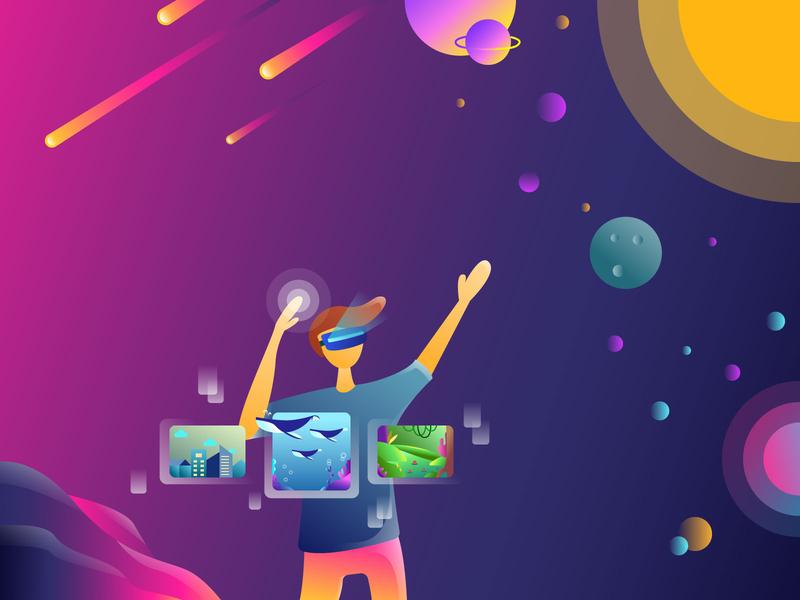 Virtual Reality ui website clean mobile flat design illustration vector illustrator