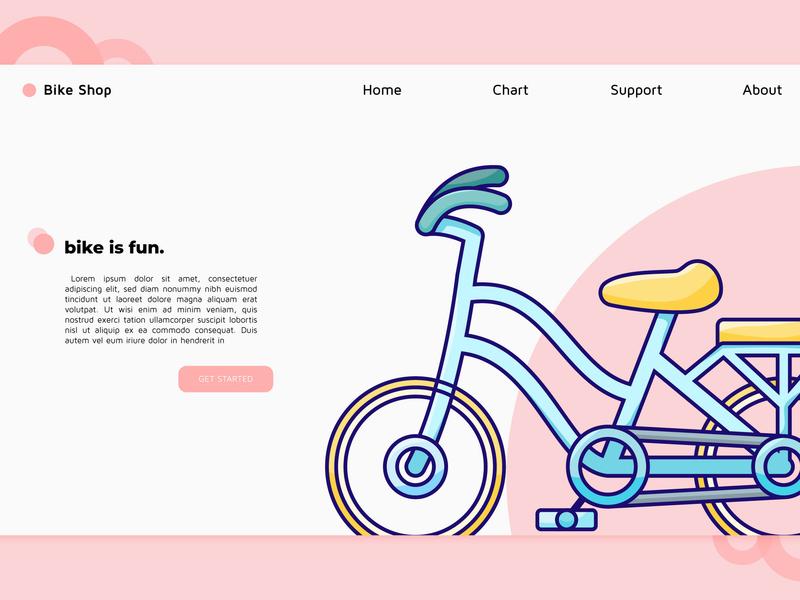 Bike Shop Landing Page ux website clean mobile web illustrator vector illustration flat design