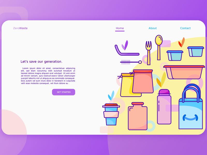 Zero Waste Landing Page zero waste ui ux clean website web mobile illustrator flat vector design illustration