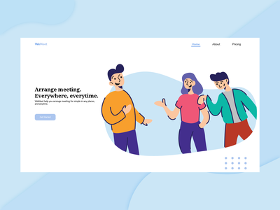 WeMeet Web Landing Page website clean web mobile branding ui flat illustration design